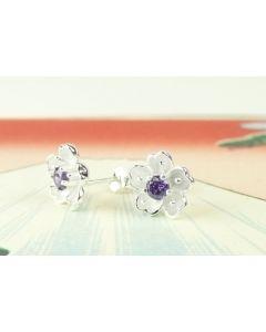 Silber Ohrringe Kirschblüte mit lila Zirkonia