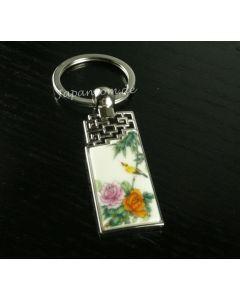 Schlüsselanhänger Antike Tür Päonie Porzellan