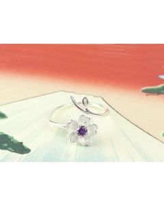 Silber Ring Kirschblüte mit lila Zirkonia