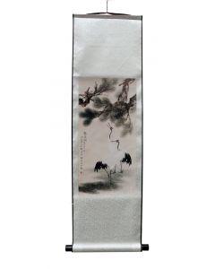 Rollbild 2 Kraniche unter Kiefern 30 x 100 cm