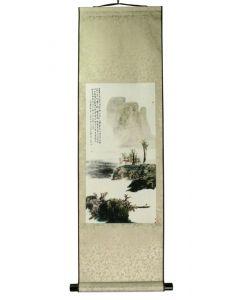 Rollbild Berglandschaft 30 x 100 cm golden