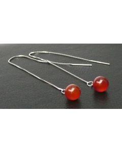 Rote Laterne - Silber Durchzieher Ohrring mit rotem Achatstein