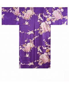 Seidenkimono Royal Cranes violett kurz