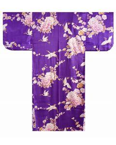 Seidenkimono Royal Craness violett lang