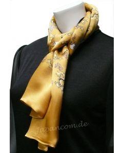 Herren Schal Drachen 100 % Seide gelb