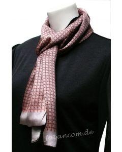 Herren Schal Ringe 100 % Seide rosa-silber