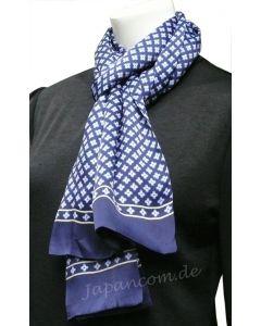 Herren Schal Kreuz 100 % Seide blau
