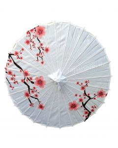 Sonnenschirm Rote Kirschblüten Nylon weiss