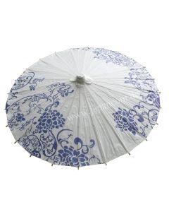 Asiatischer Schirm Blumen weiss-blau