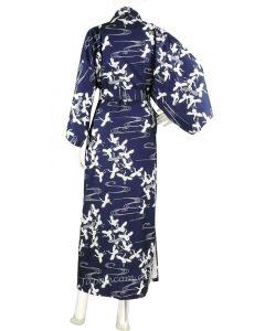 Damen Kimono Schneekraniche blau 135 cm gefüttert