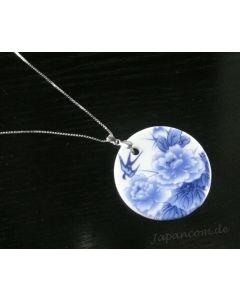 Silberkette mit Porzellan Anhänger Schwalbe