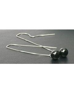 Schwarz Laterne - Silber Durchzieher Ohrring mit schwarzem Achatstein