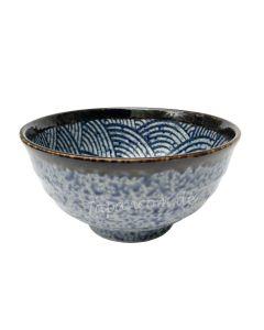 Grosse Suppenschüssel Seikaiha blau