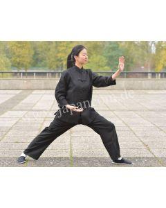 Tai Chi Anzug Yin Yang de Luxe 100% Leinen schwarz