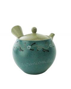 Seitengriff Teekanne Blumen türkis 350 ml