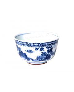 Teeschale Shin Sansui blau-weiss