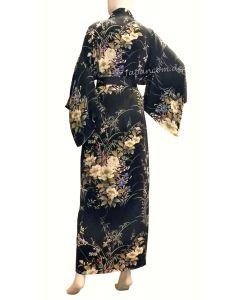 Damen Seiden Kimono Morgenmantel Ume schwarz lang