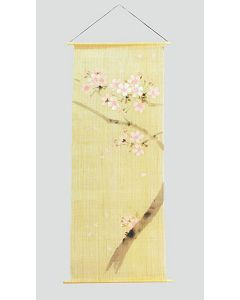 Rollbild Kirschblüte auf Leinen, handgemalt