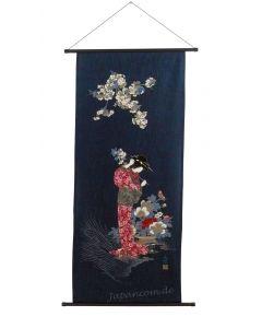 Rollbild Hanami (Kirschblütenfest) blau
