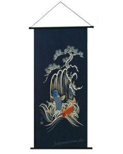 Rollbild Wandbehang Koi blau