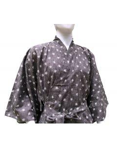 Yukata Kimono Igeta grau-schwarz