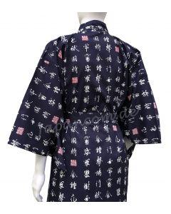 Herren Yukata Kimono Shin Kanji blau