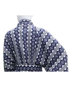 Yukata Kette blau-weiss, von hinten