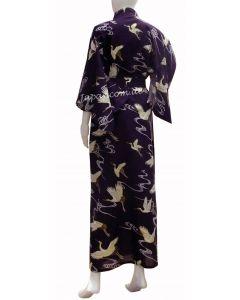 Yukata Kimono Golden Cranes blue