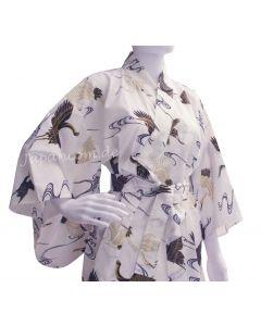 Damen Frauen Yukata  Kimono Golden Cranes weiß