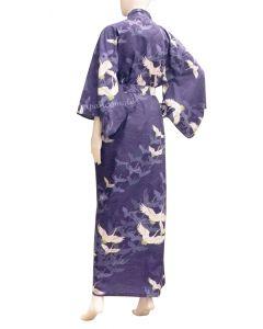Yukata Kimono Kranich über Wellen royalblau