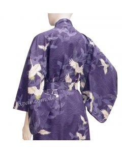 Damen Yukata Kimono Kranich über Wellen royalblau, Rückenansicht