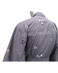 Herren / Männer Yukata Kimono Montsuki blau, Muster