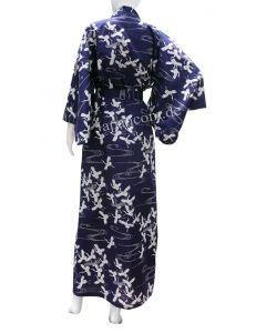 Damen Yukata Kimono Schneekraniche dunkelblau