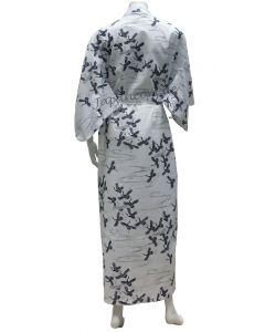 Damen Yukata Kimono Schneekraniche weiss