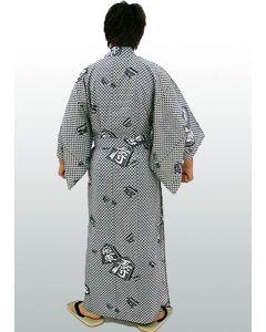 Yukata Kimono Shogi mit Muster, weiss-schwarz-1