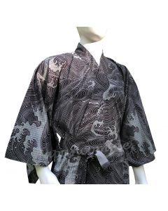 Herren Yukata Kimono Wellen schwarz L, 150cm